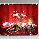 N / A Impresión Digital Plata Rojo decoración navideña Bola Cortina de Ducha Impermeable y a Prueba de Moho decoración de baño Cortina de Ducha A9 180x180cm