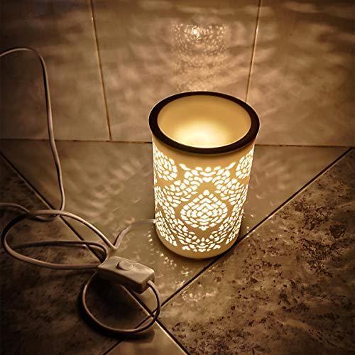 Newkbo - Lámpara eléctrica aromática, luz nocturna cálida y suave, porcelana esmaltada,...