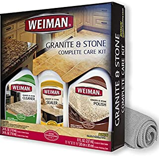 Weiman Granite Cleaner Polish and Sealer - Kit - Seal and Protect For Granite Marble Soapstone Quartz Quartzite Slate Limestone Corian Laminate Tile Countertop and More