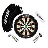 BULLET-Darts Großes Dart Turnier Set, Dartboard aus Brasilianischen Sisal, 6 Steeldarts, Surround Ring und Wurflinie - In Schwarz