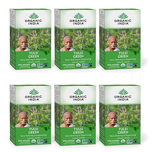 Organic India Tulsi Green Herbal Tea - Stress Relieving & Empowering, Immune Support, Vegan, USDA Certified Organic, Premium Darjeeling Green Tea, Caffeinated - 18 Infusion Bags, 6 Pack
