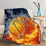 SKOLOO Basketball Throw Blanket for Couch, Warm Cozy Soft Fuzzy Throw Blankets for Kids Teens Birthday or Christmas, Red Orange Basketball Blankets for Winter Gifts, 50'' x 60''