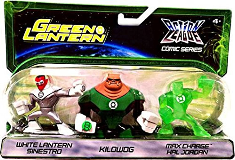 Green Lantern Action League Comic Series 3Pack White Lantern Sinestro, Kilowog Max Charge Hal