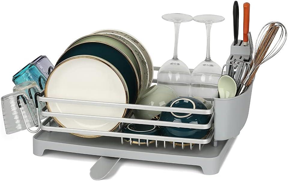 Youan Aluminum Dish Drying Rack… Upgraded Minneapolis Mall Light Gray shopping Silver