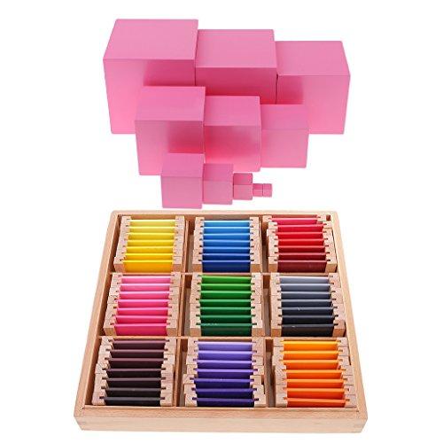 FLAMEER Material Sensorial Montessori Color Caja De Aprendizaje + Torre Rosa para Niños Educación