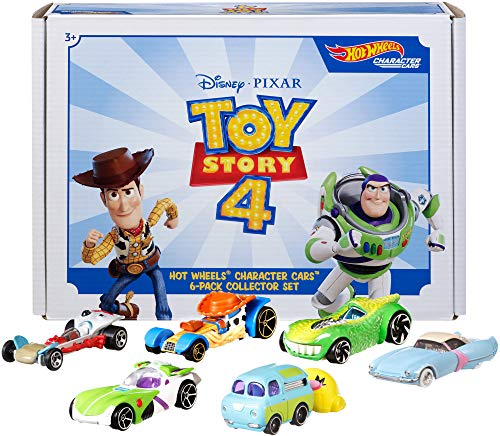 Disney and Pixar Toy Story 4 Character Cars by Hot Wheels 1:64 Scale Woody, Buzz Lightyear, Bo Peep, Forky, Ducky and Bunny, and Rex Ages 3 And Up [Amazon Exclusive]