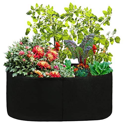 YHNJI Hochbeet, robuster Pflanzsack, rechteckiger Stoff, Hochbeet, Belüftung, Pflanzgefäß, für Outdoor-Pflanzen, Gemüse, Blumen, 19 x 19 cm