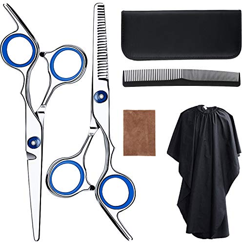 Hair Cutting Scissors Professional Barber Shears Thinning Scissors Super Sharp Stainless Steel Hairdressing Scissors Set with Cape Cleaning Cloth Comb for Barber Salon and Home Use