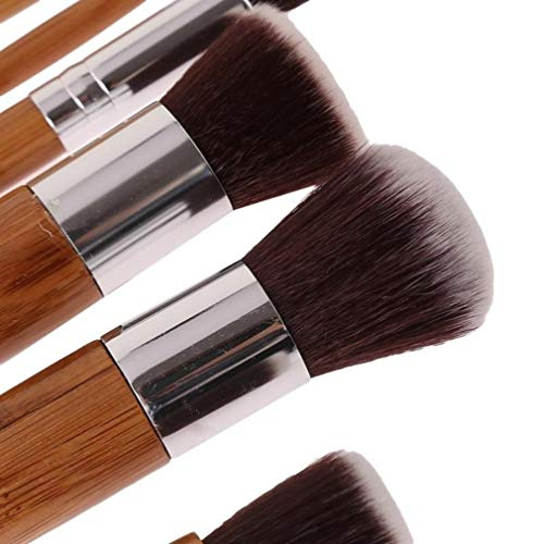Mvude Bambou Maquillage Brosses 11 Pcs Professionnel Kabuki Pinceau Ensemble Fondation Poudre Mélange Anti-cernes Ombres À Paupières Cosmétiques Brosses