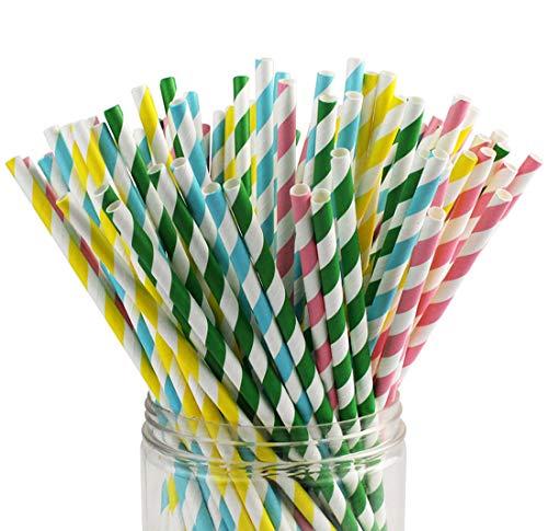 100 Stück Wiederverwendbar Trinkhalme Papier Straw Strohhalm Strohhalme für Geburtstag, Hochzeit, Baby-Dusche, Feiern und Party (02)