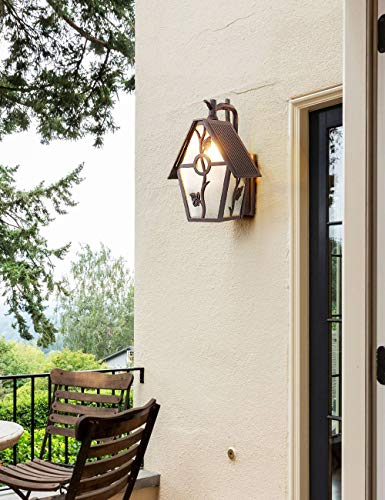 EERU Outdoor Wall Lantern Exterior Wall Mounted Sconce Lighting Designer Style Outdoor Wall Light Fixtures with Water Glass for Home,Porch,Patio,Garage,Outdoor Halloween Decorations
