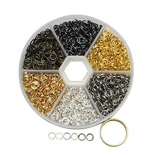 Libiline 1 Box 1200pcs 6 Colors Open Jump Ring Jewelry Keychain Making Repair with Open/Close Tool & 1pc Clear Box (Mix, 6mm)