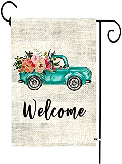 Welcome Floral Truck Spring Garden Flag Vertical Double Sided Burlap Yard Decoration Rustic Seasonal Spring Summer Flag fo...