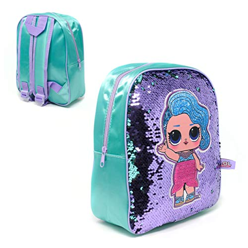 Blue & Purple Reversible Sequin LOL Surprise Backpack Rucksack Luggage Carrier Kids School Travel Bag