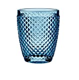 B'GHEST Set 6 uds. Diamante Vaso bajo Agua/Vino Fabricado en Vidrio. Capacidad 25 cl. Color:Azul Marino.