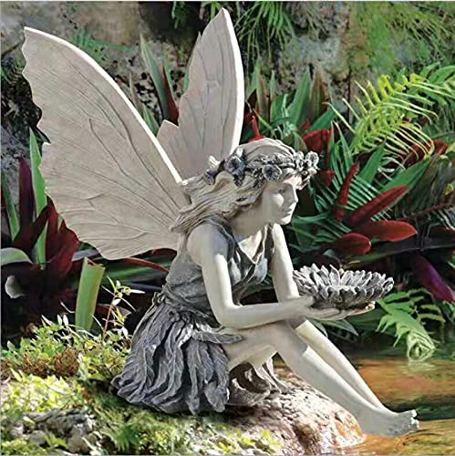 MRZJ Decorazione da giardino da giardino, con fatina magica e fatina sedentaria, statuetta da giardino, impermeabile, in resina