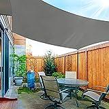 OKAWADACH Toldo Vela de Sombra Rectángulo 3 x 4m, Vela de Sombra Protección UV para Patio, Exteriores, Jardín, Gris Claro