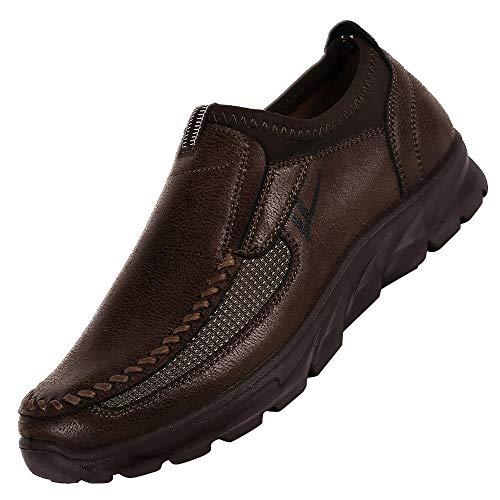 Ansenesna Schuhe Herren Business Braun Leder Flach Elegant Schuhe Ohne Schnürsenkel Männer Soft Sohle Vintage (43, Braun)