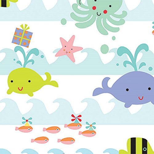 Ocean Sea Babies Birthday Baby Gift Wrapping Paper Flat Sheet - 24' x 6'