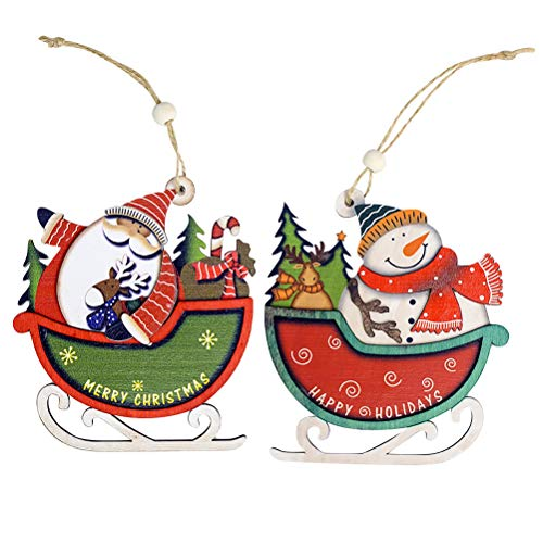 BESTOYARD Decoracion Colgantes de Madera para Navidad en Forma de Trineo con Papa Noel y Muñeco de Nieve Adornos de árbol de Navidad 2 Piezas