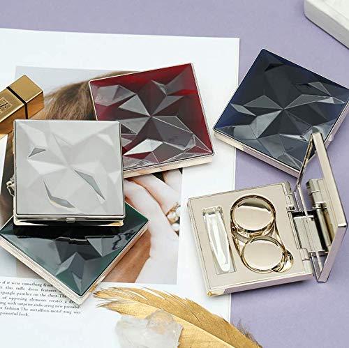 コンタクト用持ち運び収納ケース 旅行 外出 高級感 ミラーケース レンズ保管容器 ピンセット コンタクトレンズ携帯用洗浄器 計4点セット (ブルー)