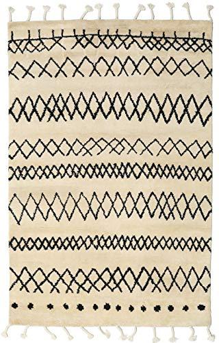 RugVista, Beni Berber Tapijt, Shaggy, hoogpolige, 180 x 275 cm, Rechthoekig, CARE & FAIR, Wol, Hal, slaapkamer, keuken, woonkamer, Beige en zwart