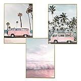 LucaSng Design Poster 3er Set, Strand Meer Hawaii Ananas Kaktus, Print Bilder Wandbild Wandkunst...