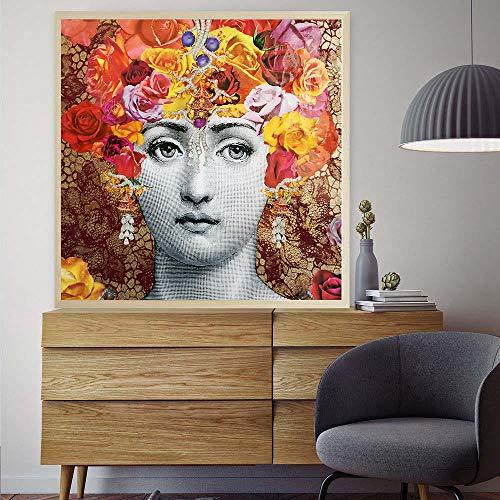 KELEXM Leinwanddruck Mauer Kunst Malen Fornasetti Malen nach Zahlen Poster und Drucke Leinwand Blumen Wandkunst Bilder Gemälde für Wohnzimmer Decor-60 * 60cm_18