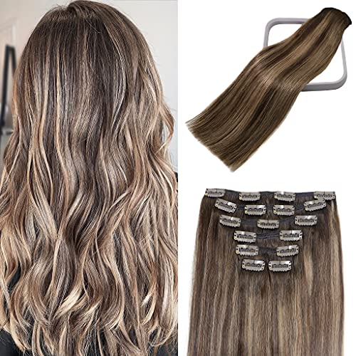 Clip in Hair Extensions Human Hair Balayage Chocolate Brown To Dark Blonde Highlights for Brown Hair 15Inch 70g #4T27P4 Remy Hair 7PCS Gift for Women