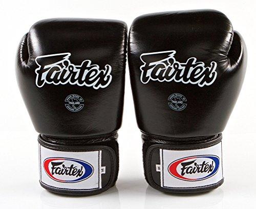 Fairtex Muay Thai Boxing Gloves BGV1 Size : 10 12 14 16 oz. Training Sparring All Purpose Gloves for Kick Boxing MMA K1 (Solid Black, 16 oz)