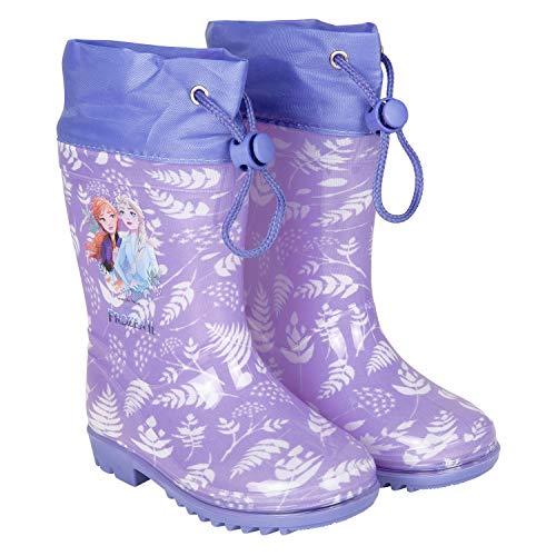 PERLETTI Disney Frozen 2 Regenstiefel mit ELSA Anna - die Eiskönigin II Regen Stiefeletten für Kleine Mädchen - wasserdichte Stiefel Violett mit rutschfeste Sohle und Kordelzug (Lila, 22/23 EU)