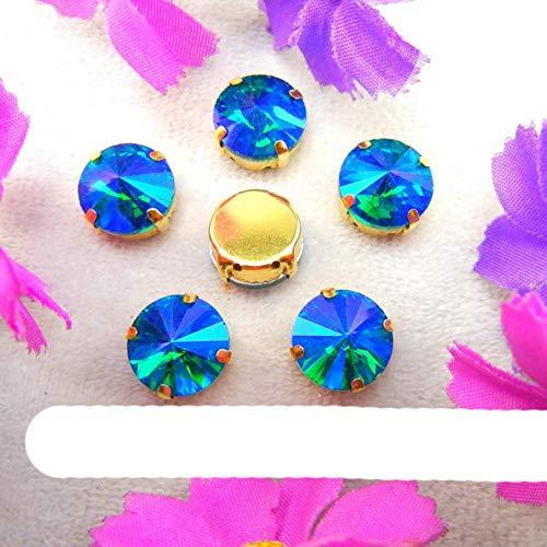 Rivoli - Juego de 7 tamaños con forma redonda de cristal para coser en diamantes de imitación, accesorios para vestido de boda, color esmeralda A8, 18 mm, 20 unidades