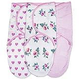 Emma + Ollie Swaddle Blanket Wrap Set of 3, Adjustable Infant Baby Swaddle Wrap Blanket, Pink Swaddle, Pink Flower, Pink Heart, Pink Stripe Swaddle Wrap, Girl Swaddle