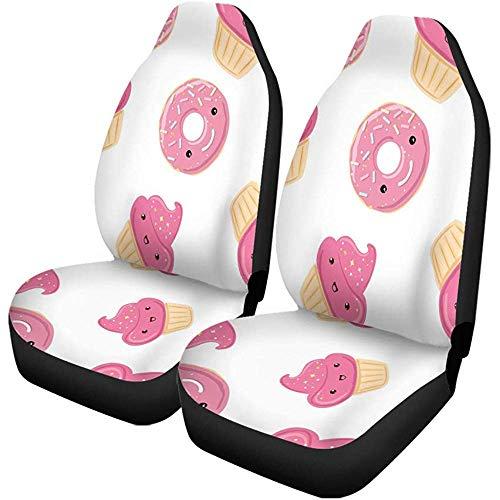 Autostoelhoezen Roze Snoepjes Donuts Cupcakes Voor Verjaardag De Kinderen Verpakkingen Auto Accessoires Beschermers Universeel