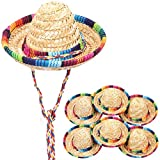 10 pcs Mini Mexican Hat Sombrero Party Hats 5.9 in Fiesta Decorations Top Hat for Dogs, Cats Party Supplies Brown