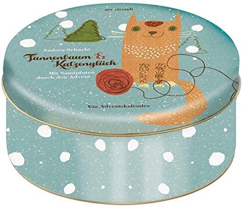 Adventskalender Tannenbaum und Katzenglück - Mit Samtpfoten durch den Advent - Eine Katzengeschichte auf 24 Karten in Blechdose zum Aufhängen: 24 Karten zum Aufhängen in Blechdose
