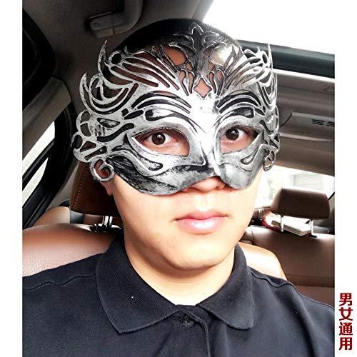 YiYuDe Masken Paintball-Schutzmasken Maskerade Geburtstagsfeier Retro Kapuze Antike Geschnitzte Krone Männlich, Gladiator Crown Silver
