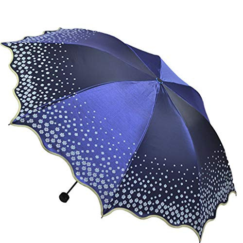Bloemen kant Compact Reizen Paraplu Wind-Resistant Versterkte Frame Stevige Draagbare Paraplu Snel Drogen Anti-UV Blauw