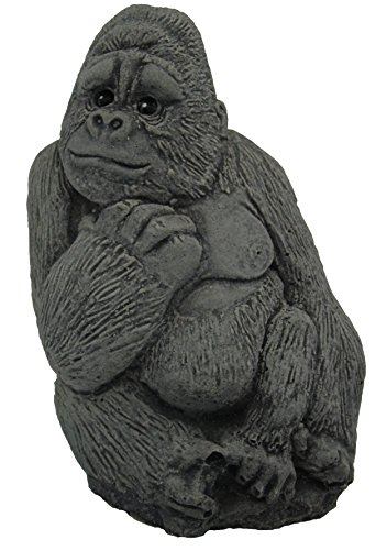 Tiny Gorilla, 4 inches tall. Stone Garden Ornament Hand Mixed, Cast, Coloured and Finished by Bekki Garvin. 6 x 5 x 9 cms, 358 grams. TGORILLA