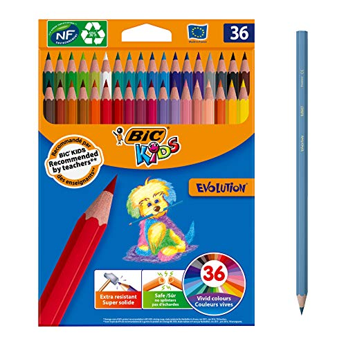 BIC Kids Evolution ECOlutions Lápices para Colorear - colores Surtidos, Blíster de 36 unidades