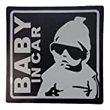 BABY IN CAR 赤ちゃん 乗車中 (12cm マグネット ステッカー ブラック)