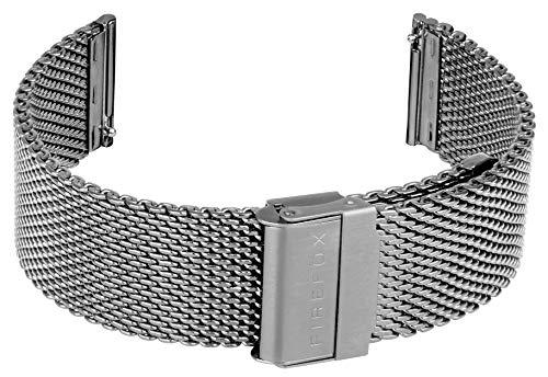 FIREFOX Mesh Ersatz- Uhrenarmband Milanaise Edelstahl Silber Breite 22mm MSB-01-B22 Schnellwechselfu