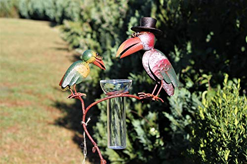 Unbekannt Regenmesser Gartenstecker Rabenpaar Vogel Metall Glas Bunt H 136 cm°