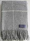 Plaids und Co Wolldecke 100prozent Schurwolle aus Neuseeland, Schurwollplaid mit Fransen 140x200cm, Decke Wolle, Wohndecke, Kuscheldecke, Tagesdecke, Sofadecke (grau Karo)