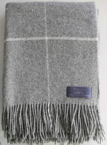 Plaids & Co Manta 100% lana virgen de Nueva Zelanda, manta de lana virgen con flecos, 140 x 200 cm, manta de lana, manta para el salón, colcha para el sofá (cuadros gris)