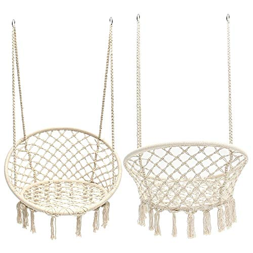 Hangstoel Draagbare Buiten Binnen Gebreide Ronde Opknoping Hangstoel Nordic Style Kind Baby Hangende Swing For Slaapzaal Kamer Indoor Outdoor Thuis Patio Yard Garden (Color : Beige, Size : 120cm)