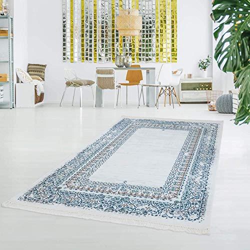Carpet City bedrukt tapijt, vlakpolig, polyester, wasbaar, klassiek ornamenten, meisblauw, crème