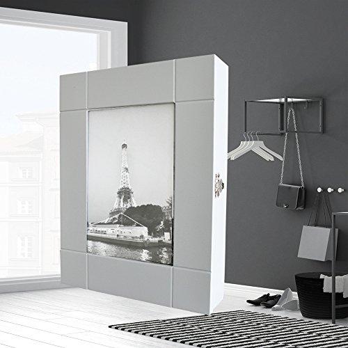 Style home Schlüsselkasten Schlüsselbox Schlüsselschrank mit Bilderrahmen Holz Weiß 11 Haken SYPB11-WH