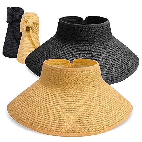 BLURBE Grande Mujer Sombrero de Paja de Visera Plegable - Sombreros de Verano con Lazo para la Playa de Sol,para Hacer Senderismo Proteccion Solar (Negro l)