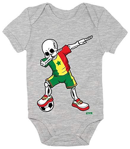 HARIZ Body à manches courtes pour bébé - Motif squelette du Sénégal - Avec carte cadeau - Gris - 12-18 mois